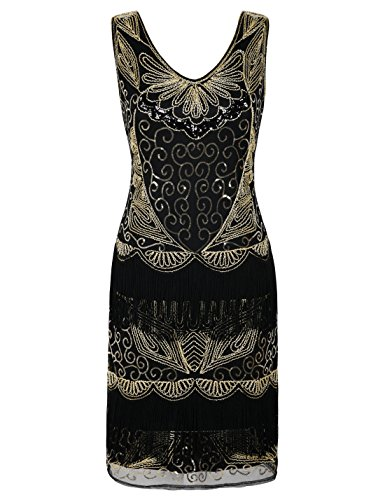 PrettyGuide Women's Flapper Dress Plus Size Fringed Inspired Vintage 1920s Dress XXL/US16 Gold -