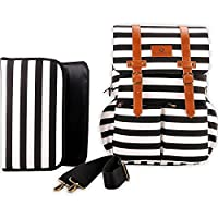 Kaydee Baby Canvas Diaper Tote Backpack Bag with Stroller Straps - Black and ...