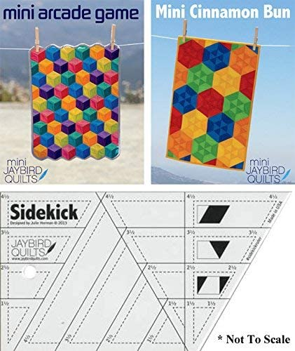 The Sidekick Template Ruler and Two Patterns That Call For It Mini Arcade Game and Mini Cinnamon Bun Jaybird Quilts Template /& Pattern Bundle #1