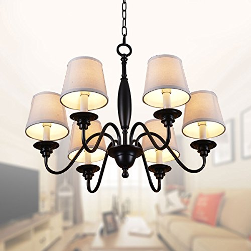 6-Light Black Wrought Iron Chandelier with Cloth Shades ()