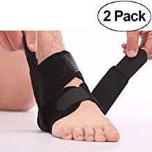 Comsun 2 Pack Ankle Brace, Adjustable Ankle Compression Support Open Heel Protector Stabilizer Wrap Strap for Running, Gym Fitness, Basketball