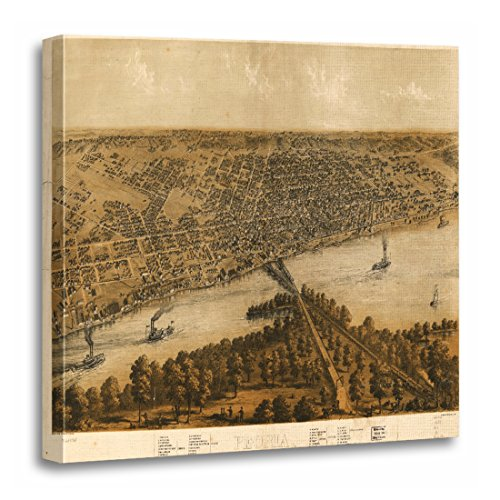 TORASS Canvas Wall Art Print Maps Peoria Illinois 1867 Old Vintage Historic Artwork for Home Decor 20