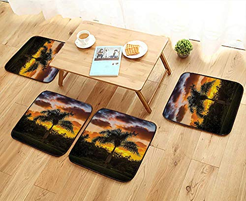 (Printsonne Elastic Cushions Chairs Palm Tree Silhouette SunTwilight Tranquility in Nature for Living Rooms W29.5 x L29.5/4PCS Set)