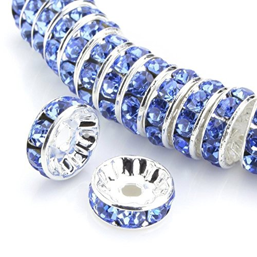 100pcs 6mm Silver Plated Copper Brass Rondelle Spacer Round Loose Beads Light Sapphire Blue Swarovski Crystal Rhinestone for Jewelry Crafting Making CF3-614