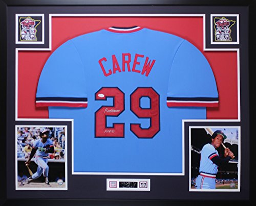 (Rod Carew Autographed Blue Minnesota Twins Jersey - Beautifully Matted and Framed - Hand Signed By Rod Carew and Certified Authentic by JSA - Includes Certificate of Authenticity)