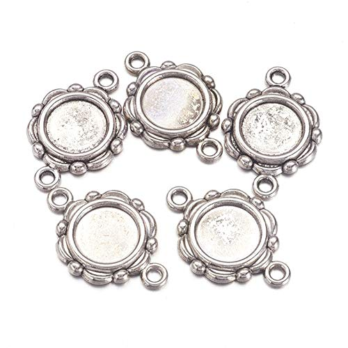 - Kissitty 20-Piece Tibetan Antique Silver Flower Blank Tray Cabochon Connector Settings Charms Lead Free & Nickel Free 10mm Flat Round Inner Diameter Bezel Cameo Photo Frame Pendant Makings Findings