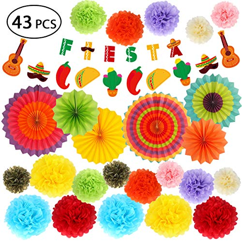 Fiesta Party Supplies - Mexican Party Decoration Pack w/Colorful Tissue Pom Poms, Hanging Paper Fans and Banner - Cinco de Mayo Decor for Taco Tout a Party, Baby Shower, Bachelorette Carnivals - 43pcs]()