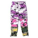 LOG SWIT Men's Camo Patchwork Cargo Pants Hip Hop Camouflage Trousers Streetwear Joggers Sweatpants Purple L