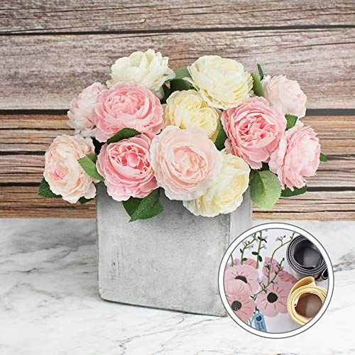(Snail Garden 12 Heads Peony Blooming Flowers Artificial Flowers Bouquet with Stain Ribbon for Home Office Wedding Party Decoration and Festival Gift(3 Colors))