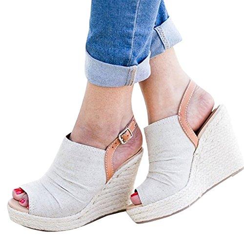 Sandalias Con Cuña De Plataforma Para Mujer Gamuza Con Correa Ajustable De Gamuza Con Hebilla De Tacón Medio Zapatos De Alpargata 2_white