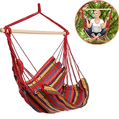 Mewalker Hanging Hammock Chair Swing Seat Colorful Hanging Swing Set for Indoor and Outdoor, 265 lb (rainbow) - ❤Hanging on anywhere: Find comfort with a stylish hammock swing, Hangs anywhere and easily relocates, Great addition to Balconies, Decks, Backyards and more ❤Durable material: Colorful cotton and polyester fabric for durability and ultimate comfort ❤Washable: Featuring vibrant color and contemporary design-Machine Washable - patio-furniture, patio, hammocks - 51Wa8EsJ0VL. SS400  -
