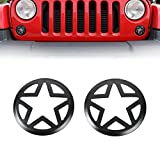 Jeep JK Five Star Front Turn Signal Light Cover Guard Protector Military Style for 2007-2018 Jeep Wrangler & Wrangler Unlimited