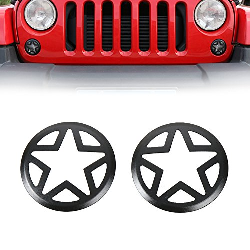 u-Box Front Turn Signal Light Cover Five Stars Light Cover Guards for 2007-2018 Jeep Wrangler JK & Wrangler Unlimited