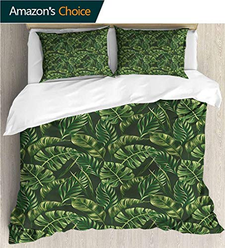 Home 3 Piece Print Quilt Set,Box Stitched,Soft,Breathable,Hypoallergenic,Fade Resistant with 2 Pillowcase for Kids Bedding-Hunter Green Tropical Palm Leaves (87