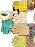 Women's Thermal Thick Warm Knitted Gloves (Green with Gold Finger)