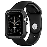 Spigen Rugged Armor Apple Watch 42mm Case with 2 Screen Protectors and Resilient Shock Absorption Carbon Fiber Soft Case for Apple Watch 42mm 2015 - Black