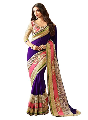 - Ethnicwear Designer Purple Faux Georgett Fabric Exclusive Party Trendy Embroidered Saree