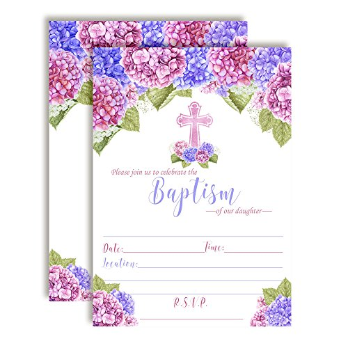 Watercolor Floral Hydrangea Baptism Invitations, 20 5