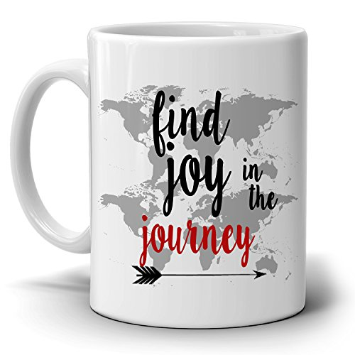 Inspirational Retirement Party Decoration Supplies Gifts Mug Find Joy In The Journey Coffee Cup, Printed on Both Sides!
