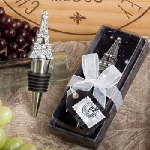 From Paris with Love Collection Eiffel Tower wine bottle stopper favors (Set of 6)