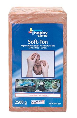 GLOREX 6 8075 337 Soft Ton terracotta, lufthärtend oder brennbar, Spiel, 2500 g