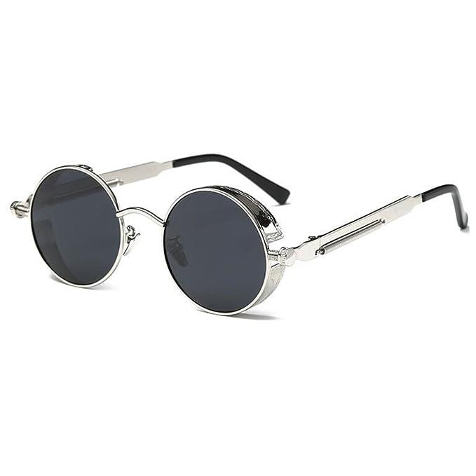 Deylay Steampunk Lunettes de soleil Polaris¨¦es Rondes Hommes Femmes Vintage Retro Cercle Metal Frame Couleur 9 YowM8pqIFS