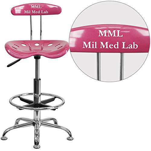 """Personalized Vibrant And Drafting Stool With Tractor Seat Pink/Chrome/20""""L x 17.25""""W x 41""""H"""