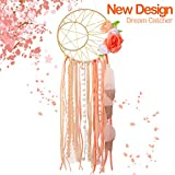 AerWo Boho Dream Catchers Handmade Star Moon Dream Catcher for Bedroom Wall Hanging Decoration Boho Wedding Décor with Feathers and Flowers