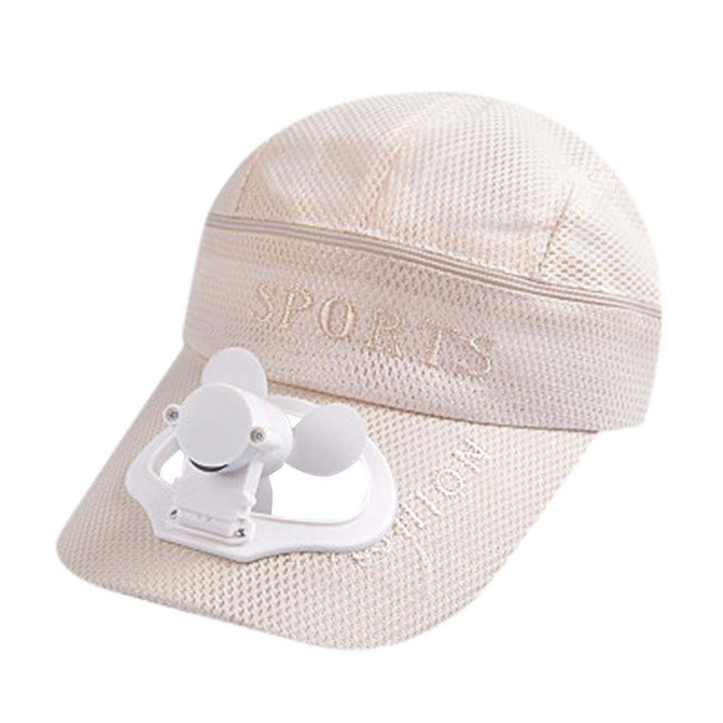 TIFENNY 2019 New Fan Cap Summer Fan Cooling Baseball Cap Hat USB Charging Breathable Shade Sunscreen Hat Beige