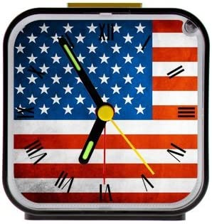 Custom Vintage American Flag Square Black Alarm Clock