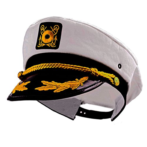 Playboy Hugh Hefner Costumes (Captain Yacht Adjustable Flagship Party White Sailing Cap - Costume Accessory Hat - One Size Fits All!)