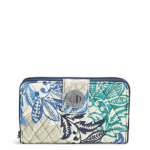 Vera Bradley Women's RFID Turnlock Wallet, Santiago One Size ()