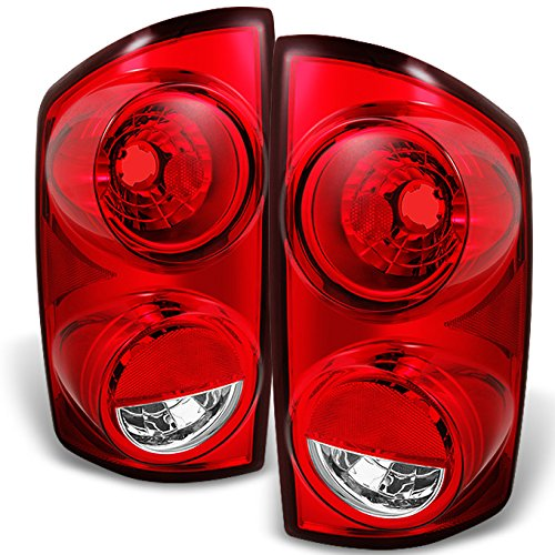 Dodge Ram Truck Red Clear Tail Lights Brake Lamps Driver Left + Passenger Right Pair Replacement Set