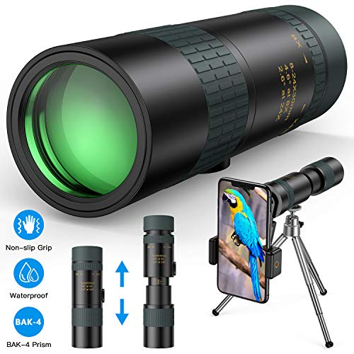 Monocular Telescope - 8-24X30 Zoom Retractable Compact Monocular with Holder & Tripod Pocket Monocular Scope for Smartphone - HD High Power BAK4 Prism for Bird Watching