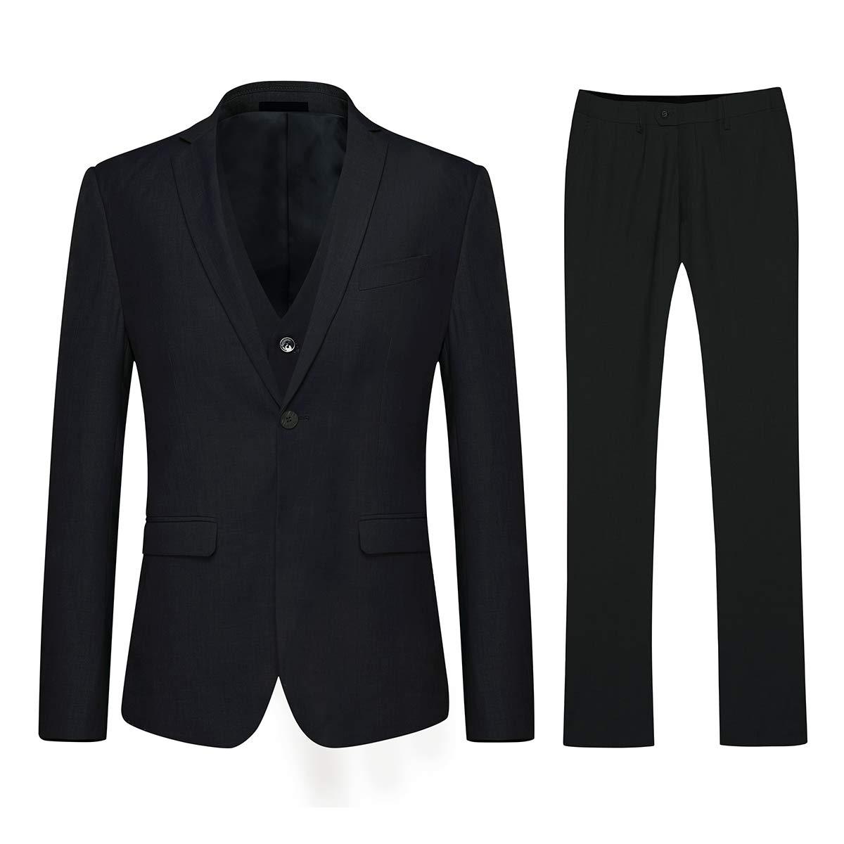 Schwarz1 Knopf) YOUTHUP Slim Fit 3 Teilig Herrenanzüge Business Hochzeit Herren Anzug Smoking Sakkos Anzughose und Weste