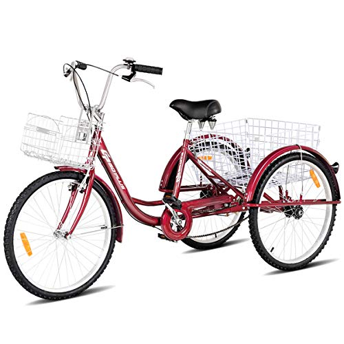Goplus Adult Tricycle Trike Cruise Bike Three-Wheeled Bicycle with Large Size Basket for Recreation, Shopping, Exercise Men's Women's Bike (Red, 24