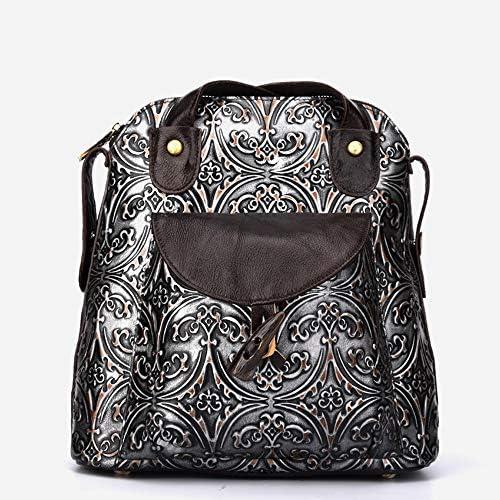 ハンドバッグ - 三次元の型押しレザートートバッグ、レトロな傾向大学の肩のショルダーバッグ、牛革、29 * 13.5 * 30センチメートル よくできた (Color : Black)
