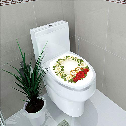 Toilet Sticker 3D Print Design,Wedding Decorations,Frame with White and Red Roses and Stylized Wedding Rings Romance,White Green Red,for Young Mens,W12.6