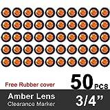 YaeKoo 3/4-Inch Mount Amber LED Trailer Marker Lights, Pack of 50