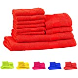 Trident Neon Red 10 Pcs Towel Set