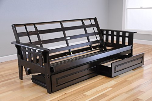 Wooden Futon Storage Drawers Mission Style Espresso Java Dark Brown Wood Frame with Full Size Mattress