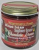 Fresh Raw Organic Honey Chocolate-Sesame-Sunflower-Dream Pure Rejuvenative Foods Smooth-Creamy Dairy-Free StoneGround white-sugar-free fudge Candy-In-Glass-Jar Antioxidants USDA-Certified-Organic-9oz
