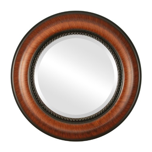 Round Beveled Wall Mirror for Home Decor - Heritage Style - Vintage Walnut - 35x35 outside dimensions
