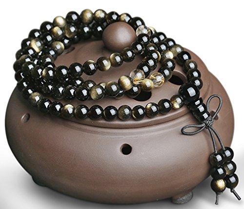 Casoty 108perles Naturel Doré Obsidienne Perles Bracelet Yaoshi mâle et femelle Doré Perles