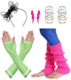 JustinCostume Women's 80s Outfit Accessories Neon Earrings Leg Warmers Gloves (I)