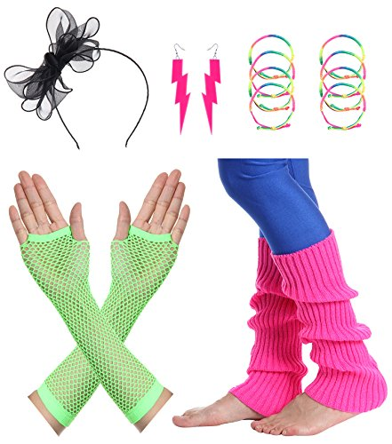 (JustinCostume Women's 80s Outfit Accessories Neon Earrings Leg Warmers Gloves)