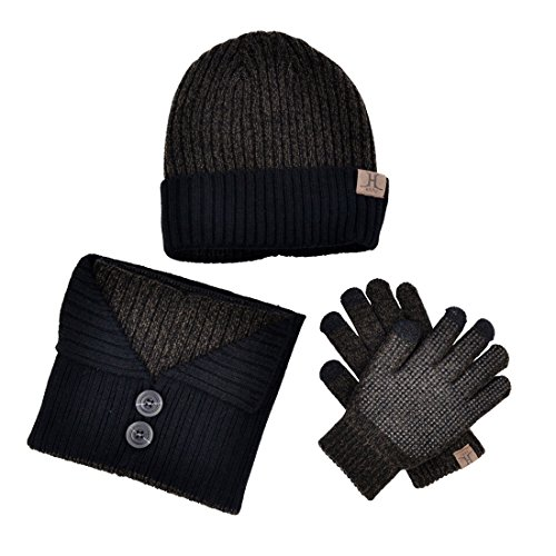Xianheng Hat Scarf Gloves Touch Screen 3 Pieces Winter Knitted Set Men Women #5 (And Mens Hat Set Gloves)