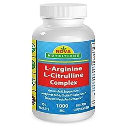 Nova Nutritions L Arginine L Citrulline Complex 1000 mg 250 Tablets