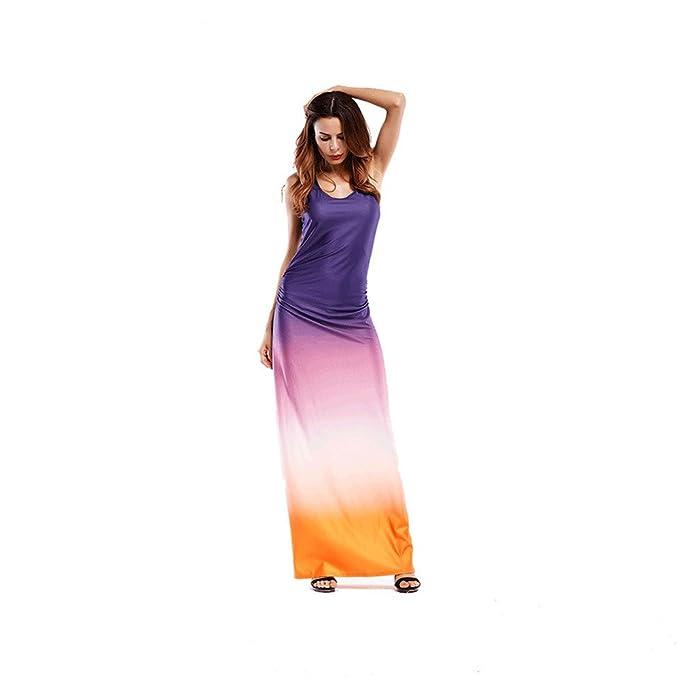 Haroty Vestido Largos Impresión Colorido Elegante Faldas Ajustados para Mujer Verano Playa Cóctel Fiesta Noche: Amazon.es: Ropa y accesorios