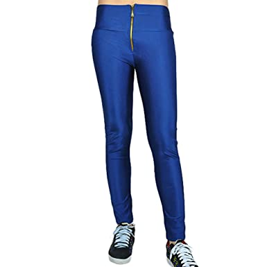 Xl Pantalons Leggings Femme Stretch Fonce Collant Bleu Zip Brillant qzGSMjLUVp